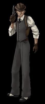A mobster in a suit vest, holding a pistol.