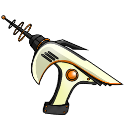 A sleek, futuristic energy weapon.<br /><br />Damage type: Energy<br /> Attack bonus: 5<br />Damage Dice: 3d8<br />Damage Bonus: 4<br />Crit Threshold: 19<br />Crit Multiplier: 3