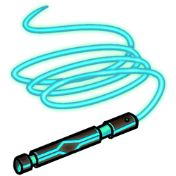 A whip, enhanced by electric shock technology. Stunning!<br /><br />Damage type: Piercing<br /> Attack bonus: 3<br />Damage Dice: 1d8<br />Damage Bonus: 2<br />Crit Threshold: 18<br />Crit Multiplier: 2<br />AC Bonus: 4