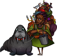 A middle-aged, bird-like woman with a massively towering backpack and a walrus on a leash.