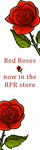 Two red roses on a white field. Text reads: Red roses now in the RPR store