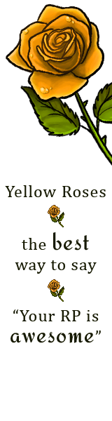 A yellow rose on a white field. Text reads: Yellow roses, the best way to say your RP is awesome