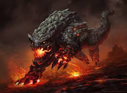 A creature of the Lost Continent.It has Lava runnign through it veins and uses it in combat.
